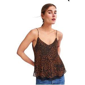Zara Trafaluc Collection Leopard Pleated Cami